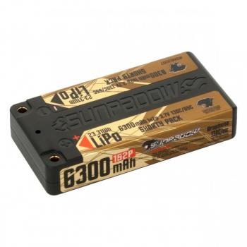 Sunpadow LiPo Akku 6300mAh 130C/65C 1s Shorty Ultra LCG 4mm Buchse