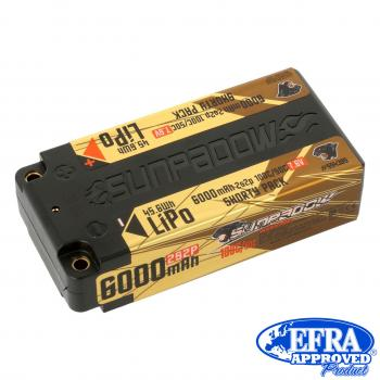 Sunpadow LiPo Akku HV 6000mAh 100C/50C 2s Competition Shorty 4mm Buchse